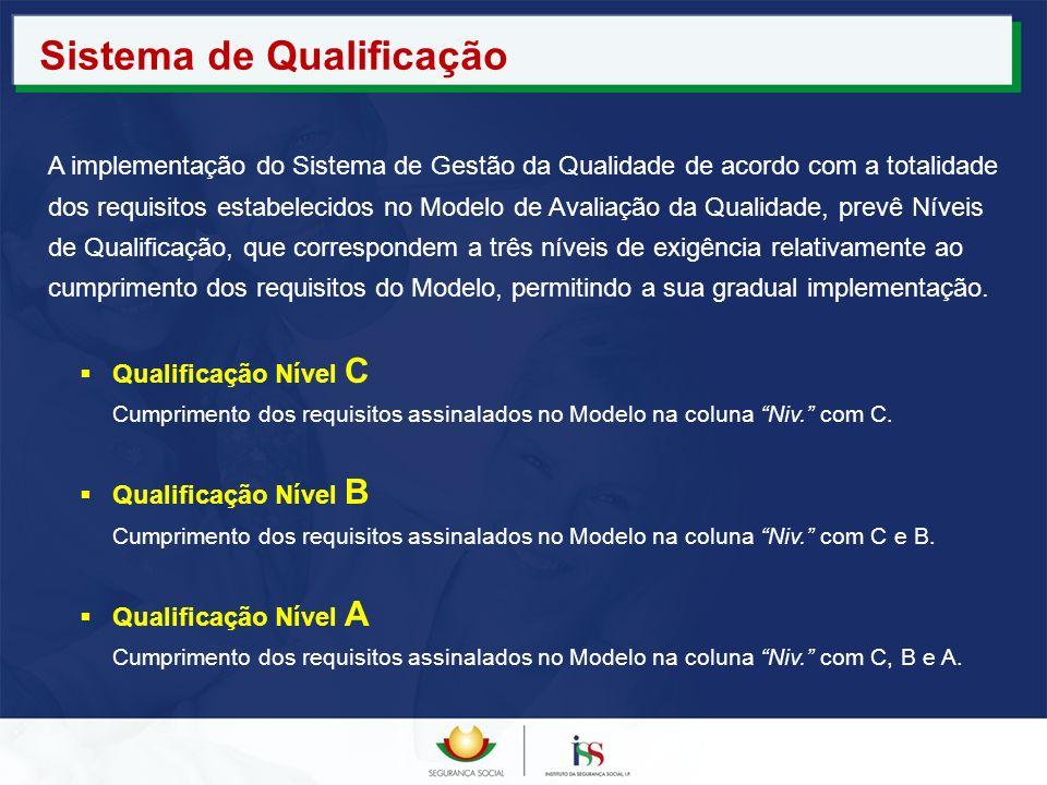 Qualificação Nível C Cumprimento dos requisitos assinalados no Modelo na coluna Niv. com C. Qualificação Nível B Cumprimento dos requisitos assinalado