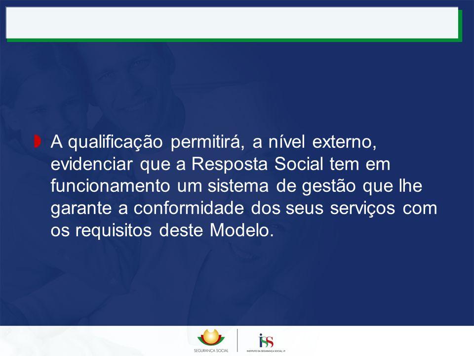 A qualificação permitirá, a nível externo, evidenciar que a Resposta Social tem em funcionamento um sistema de gestão que lhe garante a conformidade d