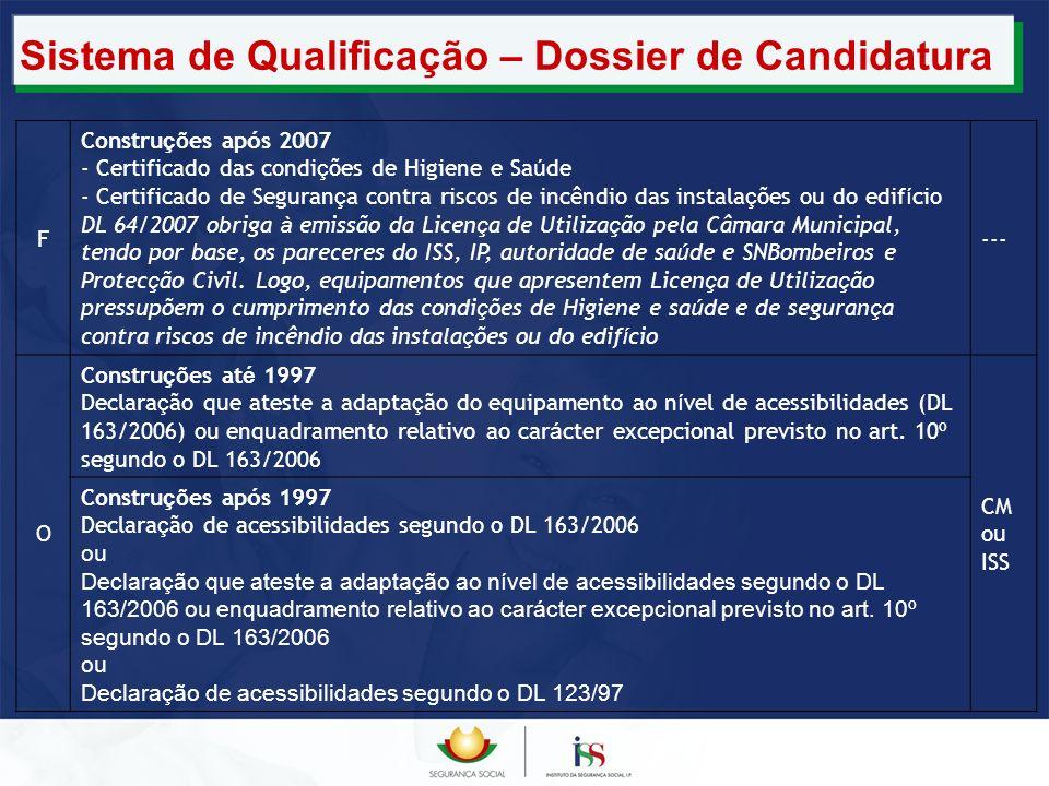Sistema de Qualificação – Dossier de Candidatura F Constru ç ões ap ó s 2007 - Certificado das condi ç ões de Higiene e Sa ú de - Certificado de Segur