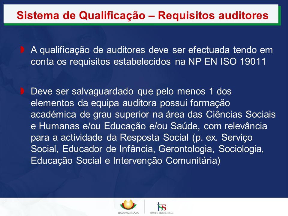 Sistema de Qualificação – Requisitos auditores A qualificação de auditores deve ser efectuada tendo em conta os requisitos estabelecidos na NP EN ISO