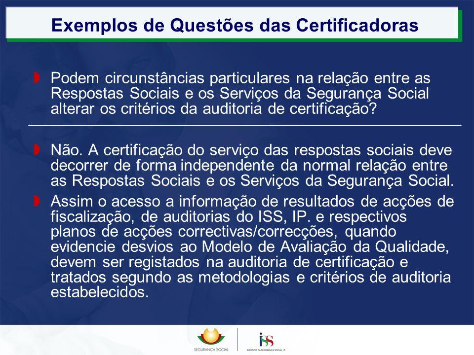 Exemplos de Questões das Certificadoras Podem circunstâncias particulares na relação entre as Respostas Sociais e os Serviços da Segurança Social alte