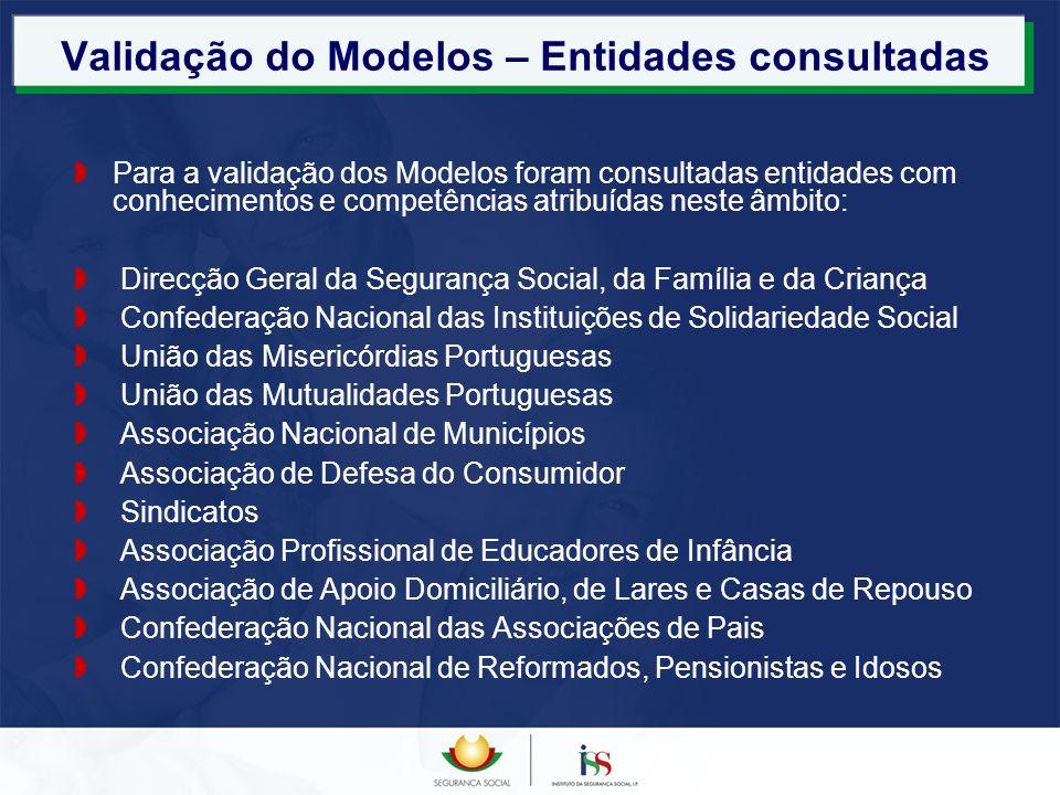 Validação do Modelos – Entidades consultadas Para a validação dos Modelos foram consultadas entidades com conhecimentos e competências atribuídas nest