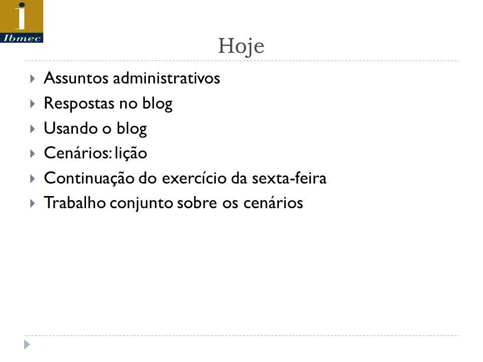 Hoje Assuntos administrativos Respostas no blog Usando o blog Cenários: lição Continuação do exercício da sexta-feira Trabalho conjunto sobre os cenár