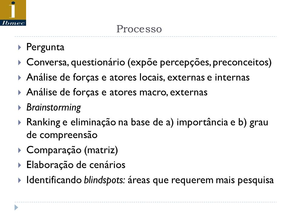 Processo Pergunta Conversa, questionário (expõe percepções, preconceitos) Análise de forças e atores locais, externas e internas Análise de forças e a