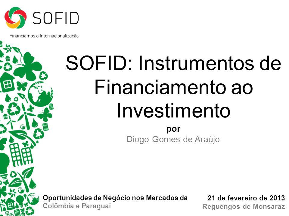 por Diogo Gomes de Araújo 21 de fevereiro de 2013 Reguengos de Monsaraz SOFID: Instrumentos de Financiamento ao Investimento Oportunidades de Negócio