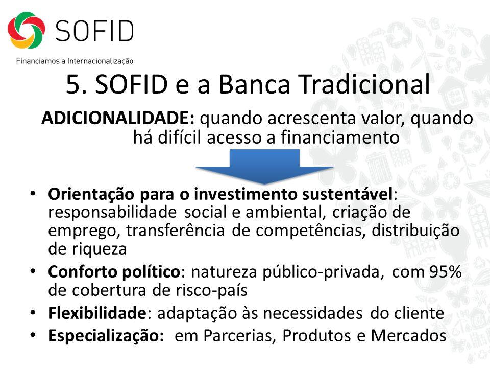 5. SOFID e a Banca Tradicional ADICIONALIDADE: quando acrescenta valor, quando há difícil acesso a financiamento Orientação para o investimento susten