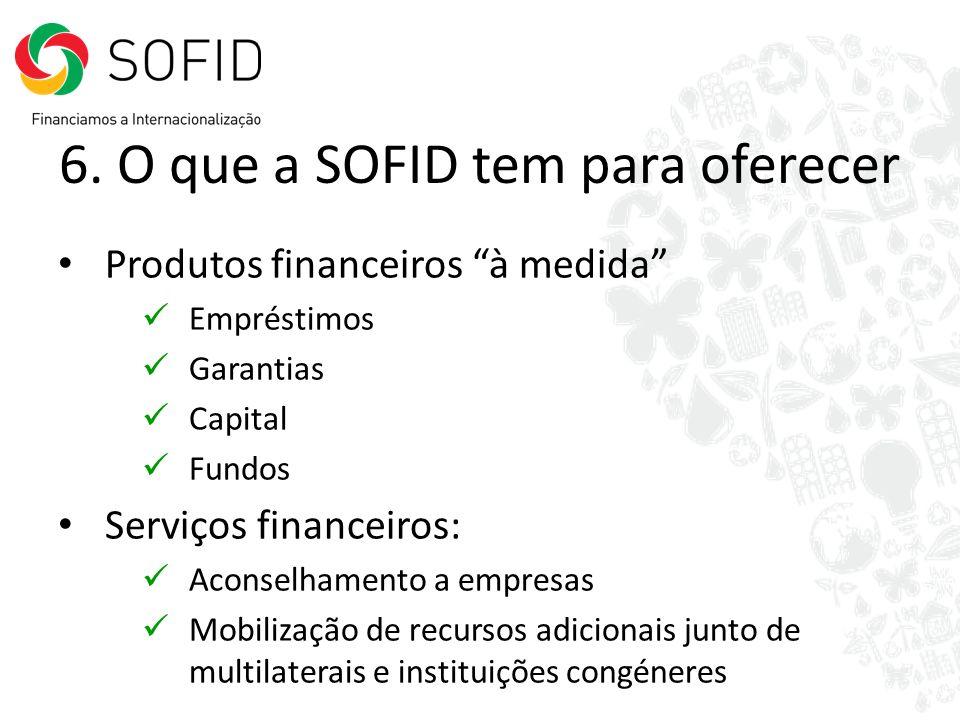 6. O que a SOFID tem para oferecer Produtos financeiros à medida Empréstimos Garantias Capital Fundos Serviços financeiros: Aconselhamento a empresas