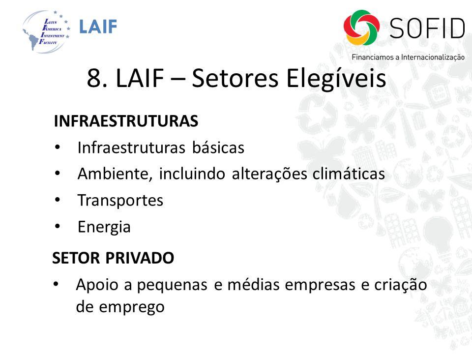 8. LAIF – Setores Elegíveis INFRAESTRUTURAS Infraestruturas básicas Ambiente, incluindo alterações climáticas Transportes Energia SETOR PRIVADO Apoio