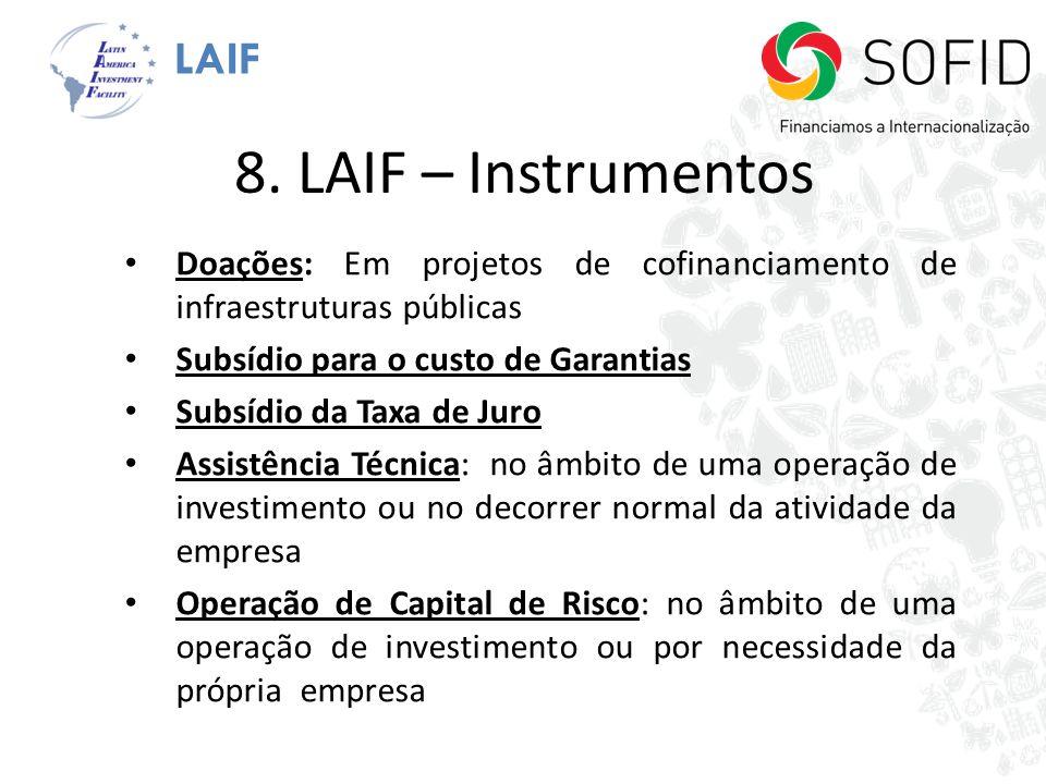 LAIF 8. LAIF – Instrumentos Doações: Em projetos de cofinanciamento de infraestruturas públicas Subsídio para o custo de Garantias Subsídio da Taxa de