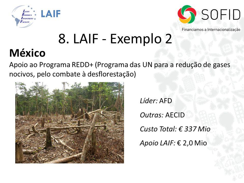 LAIF México Apoio ao Programa REDD+ (Programa das UN para a redução de gases nocivos, pelo combate à desflorestação) Líder: AFD Outras: AECID Custo To