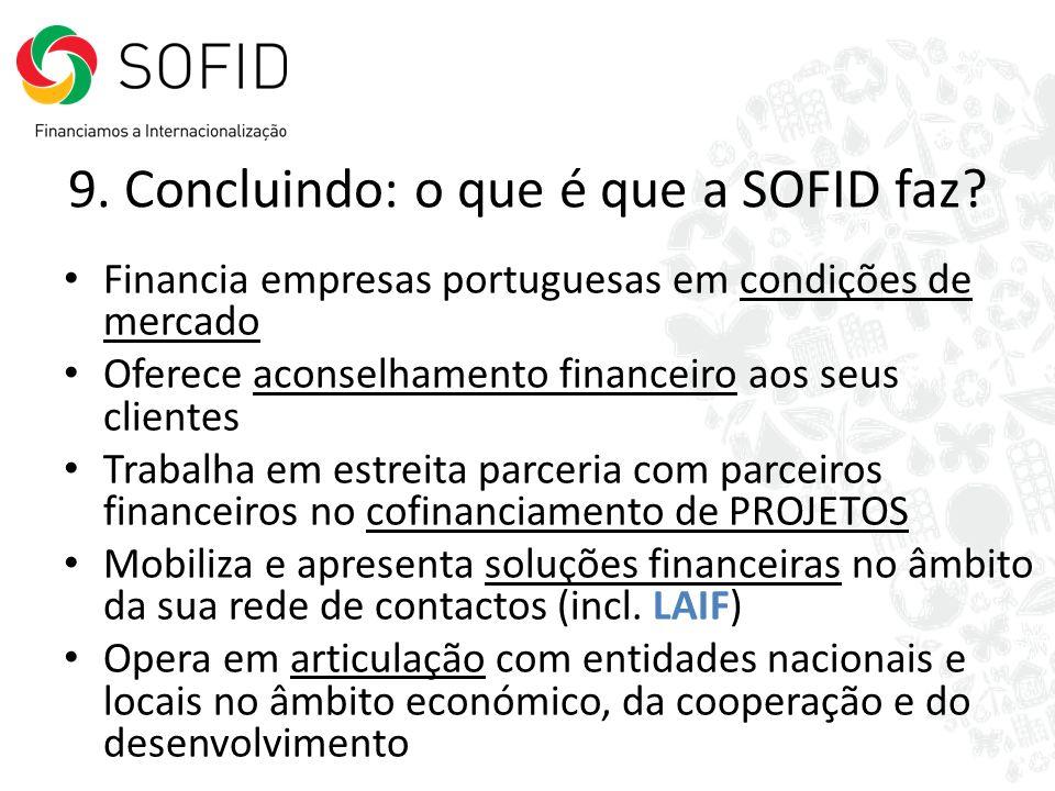 9. Concluindo: o que é que a SOFID faz? Financia empresas portuguesas em condições de mercado Oferece aconselhamento financeiro aos seus clientes Trab