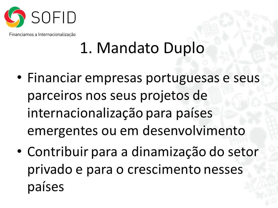1. Mandato Duplo Financiar empresas portuguesas e seus parceiros nos seus projetos de internacionalização para países emergentes ou em desenvolvimento
