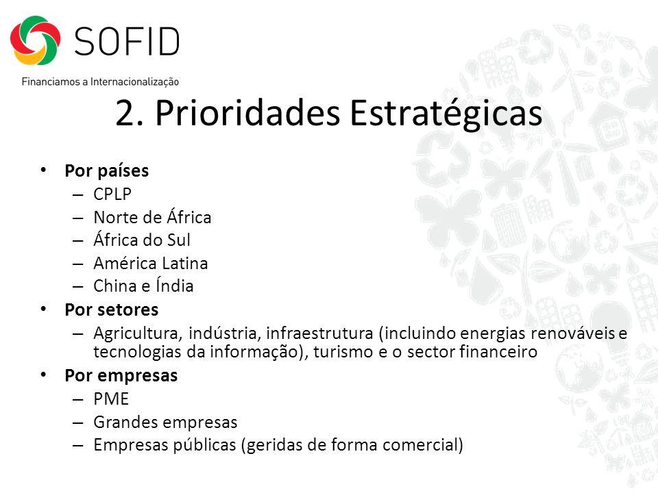 2. Prioridades Estratégicas Por países – CPLP – Norte de África – África do Sul – América Latina – China e Índia Por setores – Agricultura, indústria,