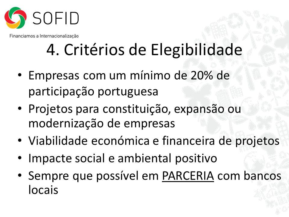 4. Critérios de Elegibilidade Empresas com um mínimo de 20% de participação portuguesa Projetos para constituição, expansão ou modernização de empresa