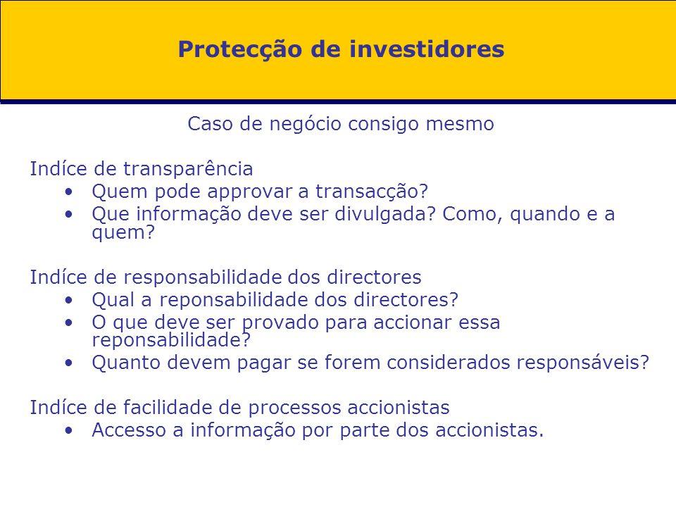 Protecção de investidores Caso de negócio consigo mesmo Indíce de transparência Quem pode approvar a transacção? Que informação deve ser divulgada? Co