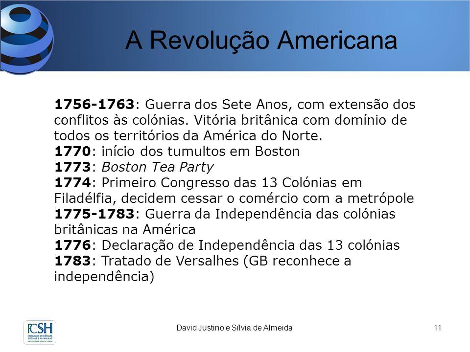 A Revolução Americana David Justino e Sílvia de Almeida11 1756-1763: Guerra dos Sete Anos, com extensão dos conflitos às colónias. Vitória britânica c