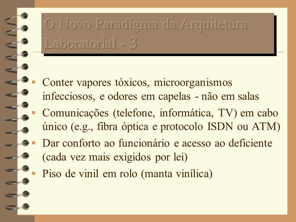 Conter vapores tóxicos, microorganismos infecciosos, e odores em capelas - não em salas Comunicações (telefone, informática, TV) em cabo único (e.g.,