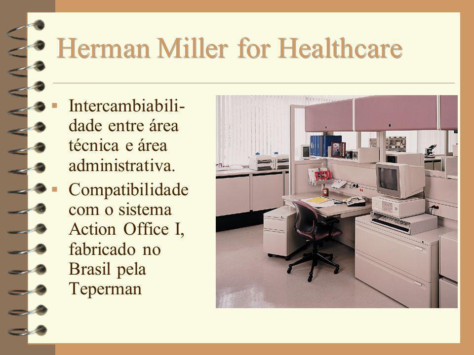 Intercambiabili- dade entre área técnica e área administrativa. Compatibilidade com o sistema Action Office I, fabricado no Brasil pela Teperman