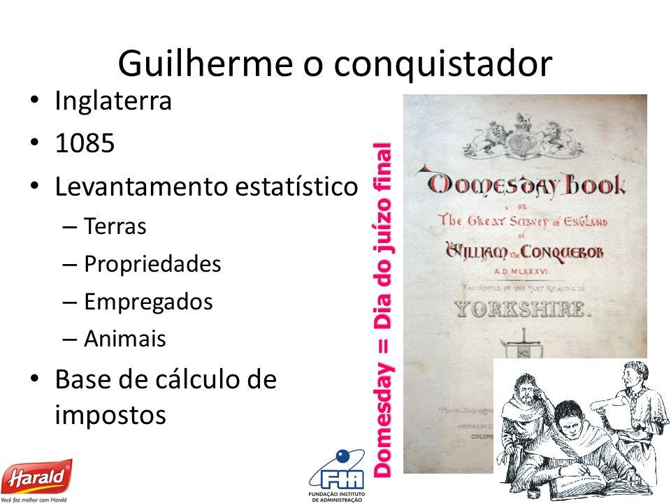 Guilherme o conquistador Inglaterra 1085 Levantamento estatístico – Terras – Propriedades – Empregados – Animais Base de cálculo de impostos Domesday