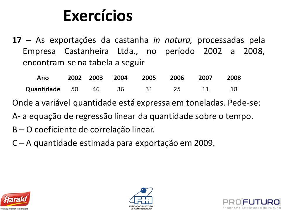 Exercícios 17 – As exportações da castanha in natura, processadas pela Empresa Castanheira Ltda., no período 2002 a 2008, encontram-se na tabela a seg