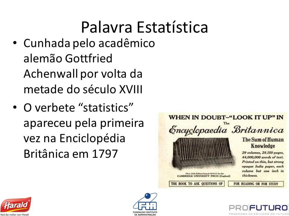 Palavra Estatística Cunhada pelo acadêmico alemão Gottfried Achenwall por volta da metade do século XVIII O verbete statistics apareceu pela primeira