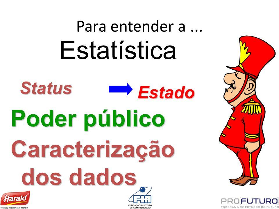 Para entender a... Estatística Status Estado Poder público Caracterização dos dados