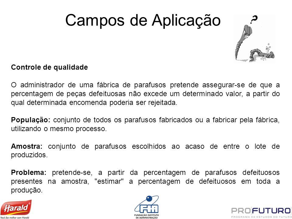 Campos de Aplicação Controle de qualidade O administrador de uma fábrica de parafusos pretende assegurar-se de que a percentagem de peças defeituosas