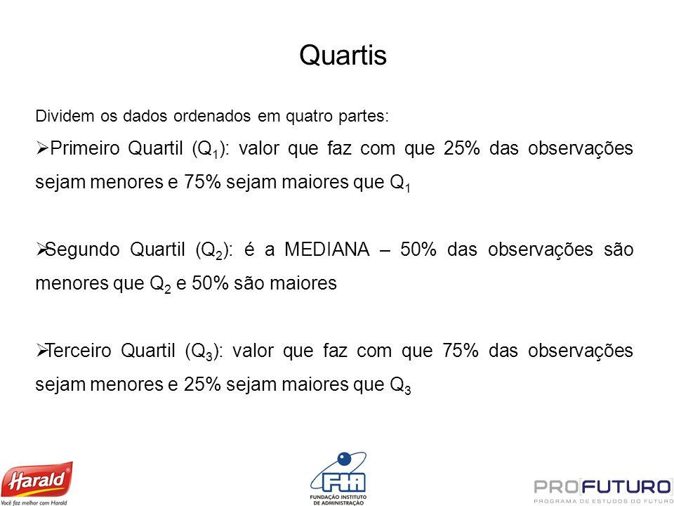 Quartis Dividem os dados ordenados em quatro partes: Primeiro Quartil (Q 1 ): valor que faz com que 25% das observações sejam menores e 75% sejam maio