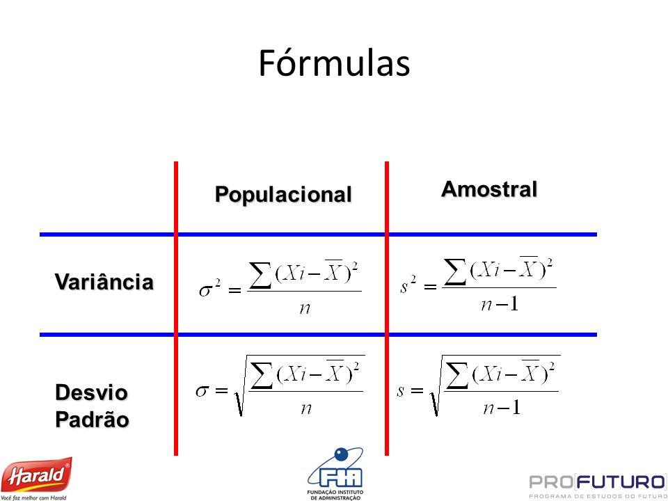 Variância Desvio Padrão Populacional Amostral Fórmulas