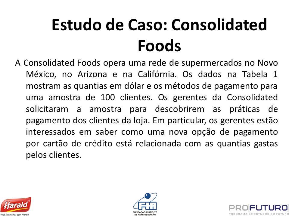 Estudo de Caso: Consolidated Foods A Consolidated Foods opera uma rede de supermercados no Novo México, no Arizona e na Califórnia. Os dados na Tabela