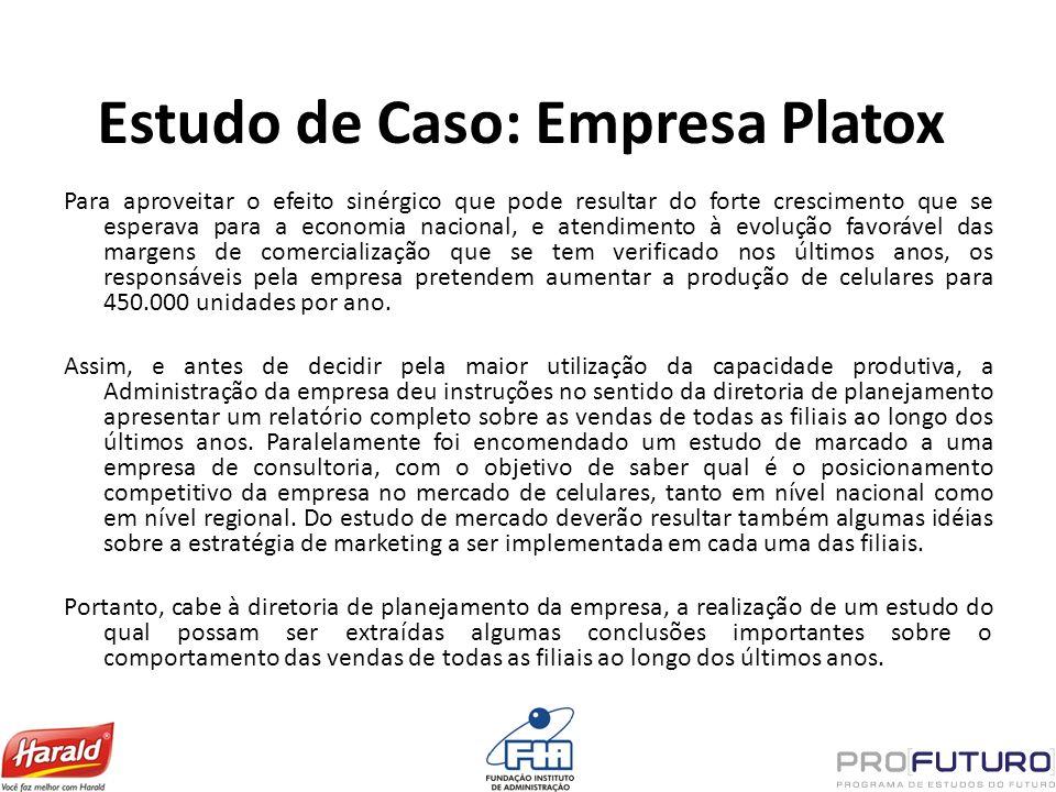 Estudo de Caso: Empresa Platox Para aproveitar o efeito sinérgico que pode resultar do forte crescimento que se esperava para a economia nacional, e a