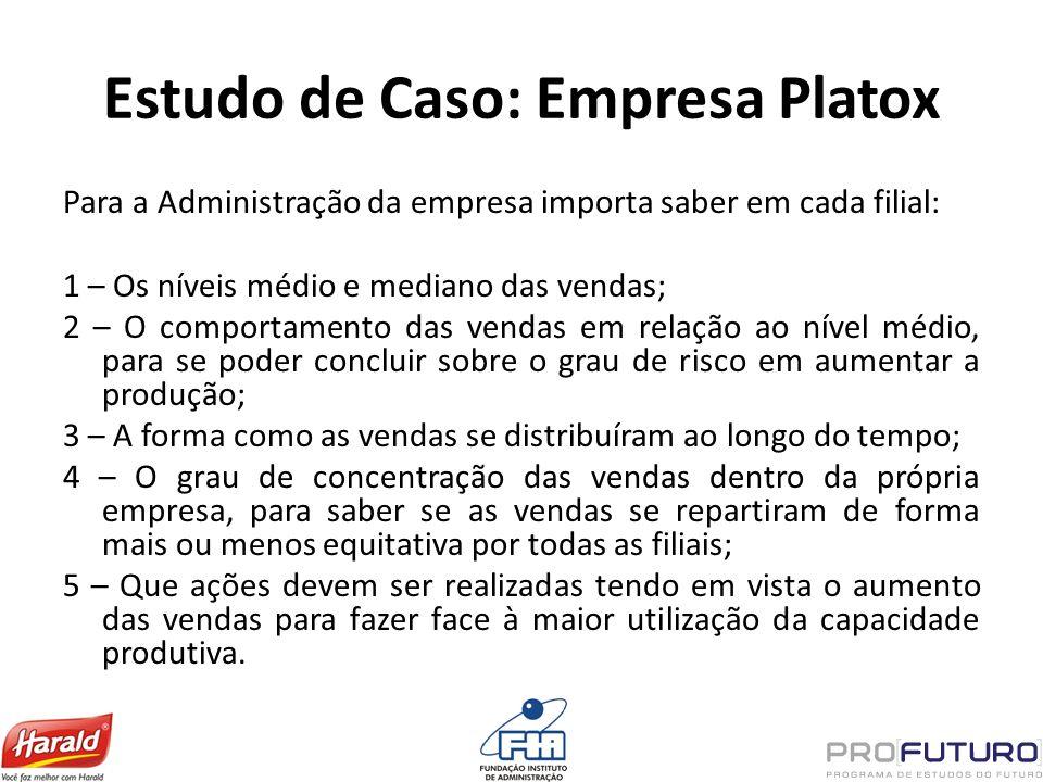 Estudo de Caso: Empresa Platox Para a Administração da empresa importa saber em cada filial: 1 – Os níveis médio e mediano das vendas; 2 – O comportam