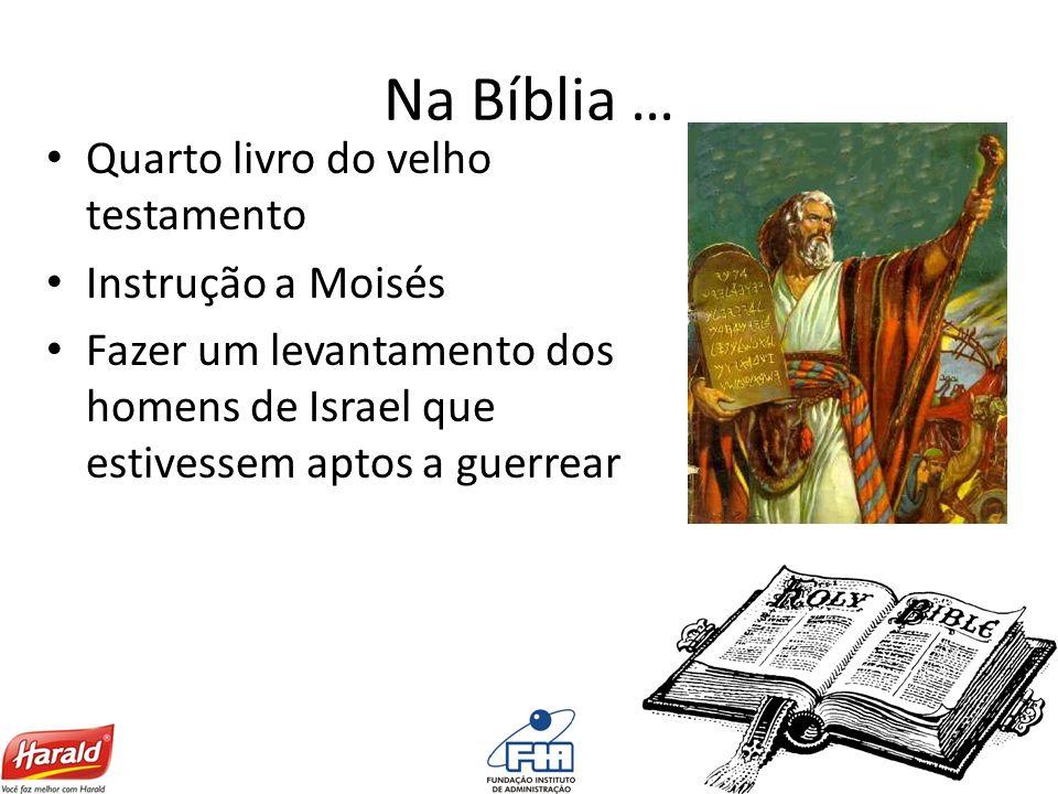 Na Bíblia … Quarto livro do velho testamento Instrução a Moisés Fazer um levantamento dos homens de Israel que estivessem aptos a guerrear
