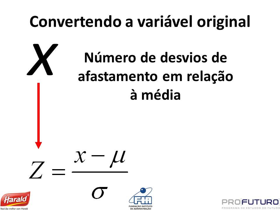 Convertendo a variável original x Número de desvios de afastamento em relação à média