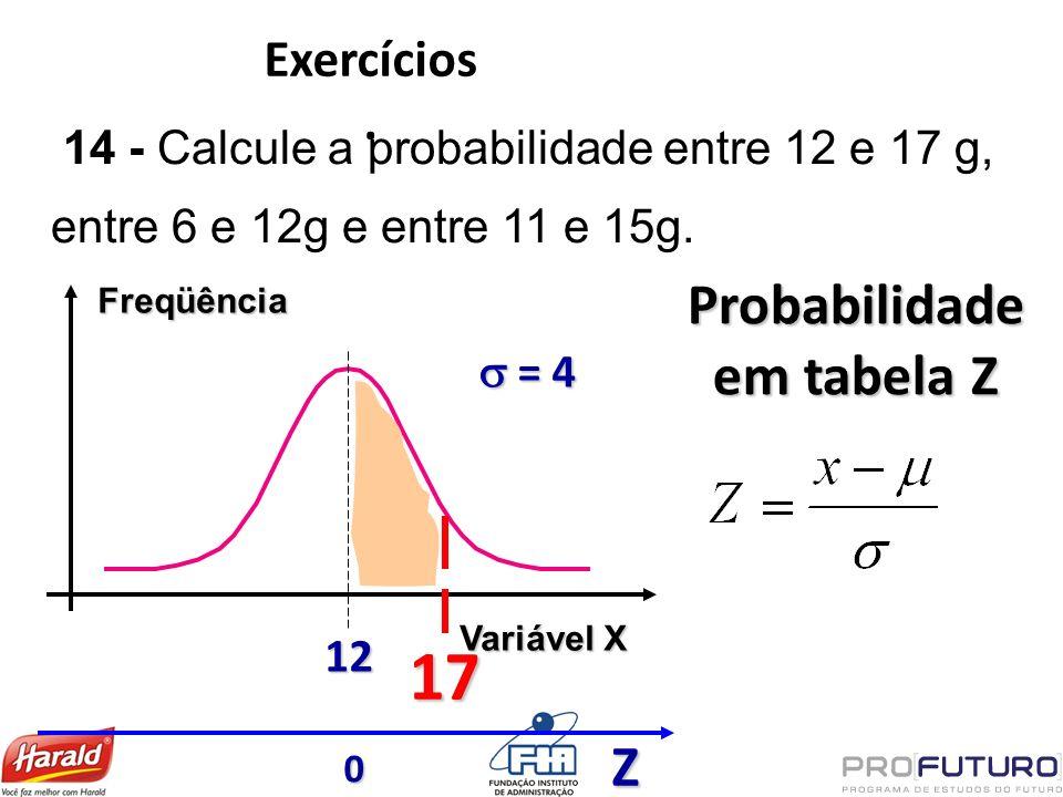 Exercícios. Freqüência Variável X 12 = 4 = 4 14 - Calcule a probabilidade entre 12 e 17 g, entre 6 e 12g e entre 11 e 15g. 17 Probabilidade em tabela