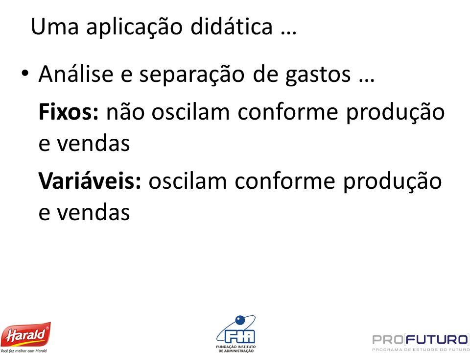 Uma aplicação didática … Análise e separação de gastos … Fixos: não oscilam conforme produção e vendas Variáveis: oscilam conforme produção e vendas