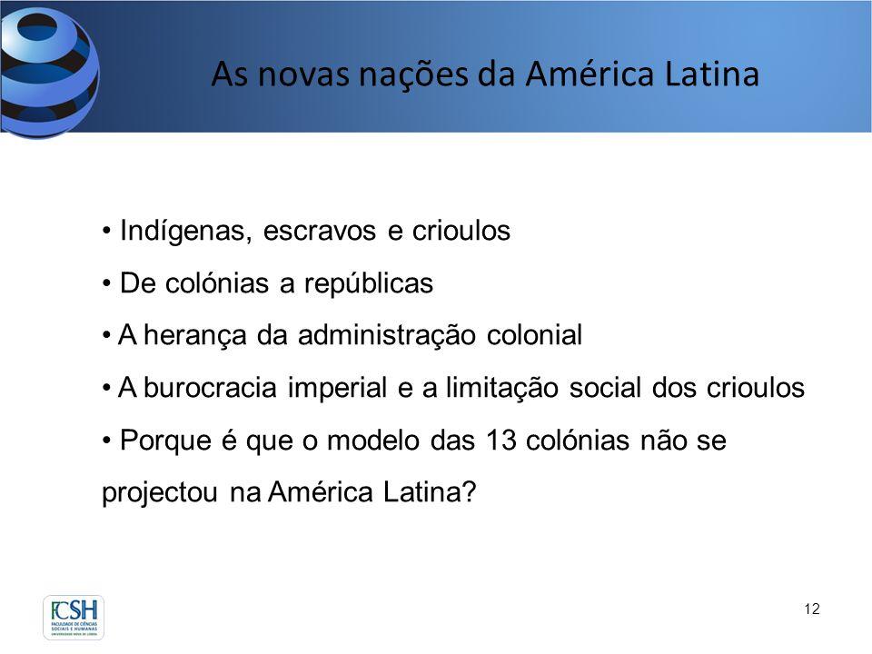 As novas nações da América Latina 12 Indígenas, escravos e crioulos De colónias a repúblicas A herança da administração colonial A burocracia imperial