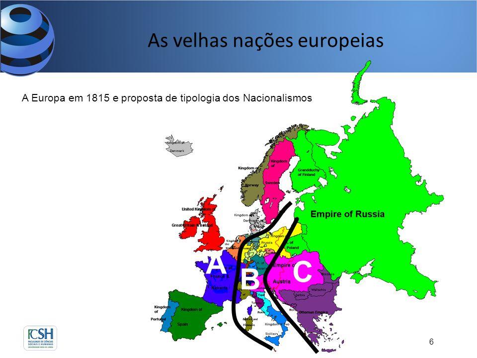 As velhas nações europeias 6 A Europa em 1815 e proposta de tipologia dos Nacionalismos A B C