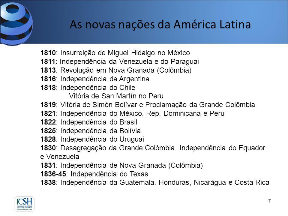 As novas nações da América Latina 7 1810: Insurreição de Miguel Hidalgo no México 1811: Independência da Venezuela e do Paraguai 1813: Revolução em No