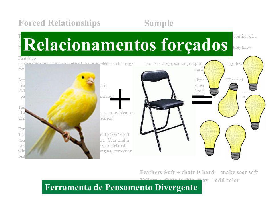 Não fique aí parado! Seja criativo! Forced Relationships This is an idea generating technique that appears in many books about creative thinking and c