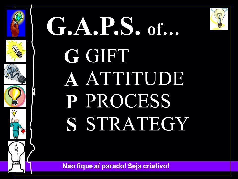 Não fique aí parado! Seja criativo! G.A.P.S. of… GAPSGAPS GIFT ATTITUDE PROCESS STRATEGY