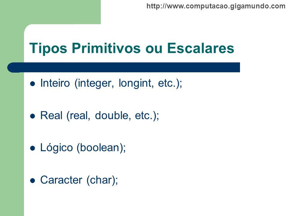 http://www.computacao.gigamundo.com Tipos Primitivos ou Escalares Inteiro (integer, longint, etc.); Real (real, double, etc.); Lógico (boolean); Carac