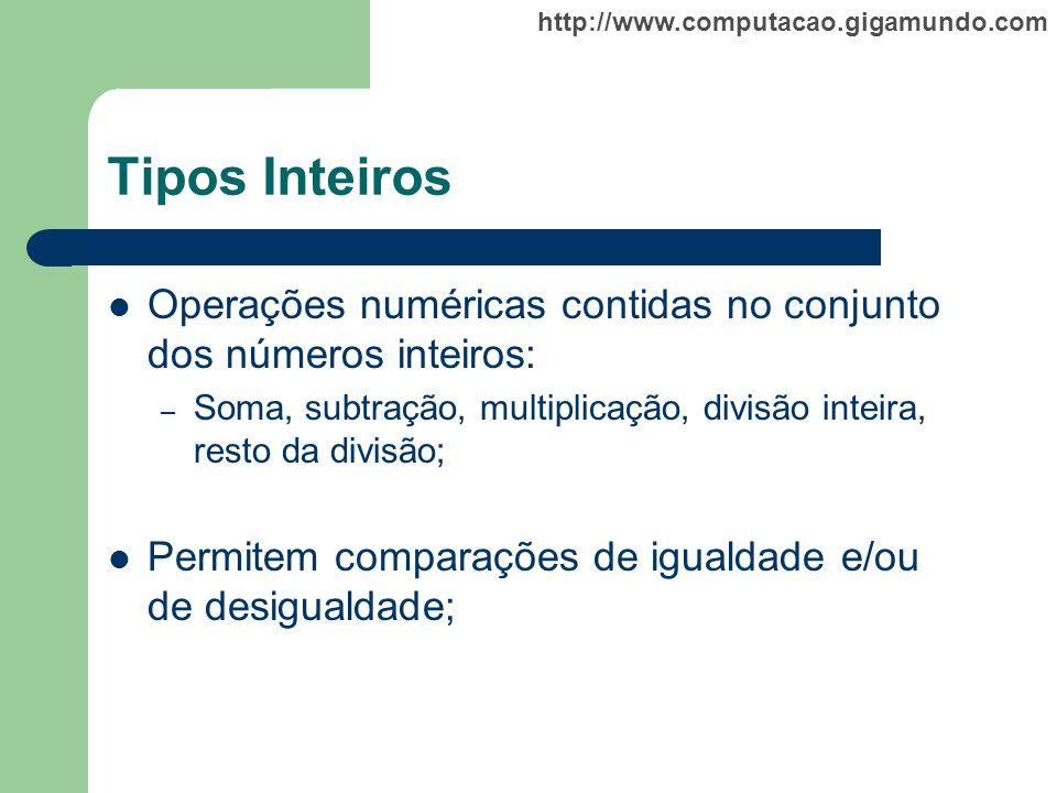 http://www.computacao.gigamundo.com Tipos Inteiros Operações numéricas contidas no conjunto dos números inteiros: – Soma, subtração, multiplicação, di