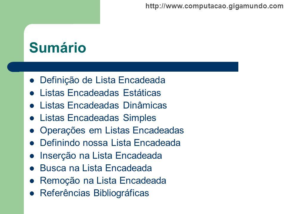 http://www.computacao.gigamundo.com Sumário Definição de Lista Encadeada Listas Encadeadas Estáticas Listas Encadeadas Dinâmicas Listas Encadeadas Sim
