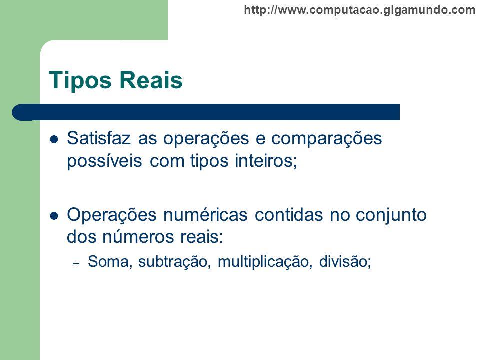 http://www.computacao.gigamundo.com Tipos Reais Satisfaz as operações e comparações possíveis com tipos inteiros; Operações numéricas contidas no conj