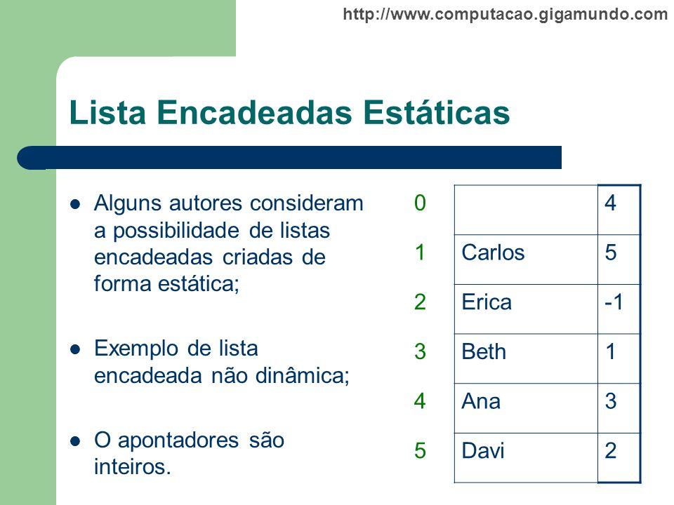 http://www.computacao.gigamundo.com Lista Encadeadas Estáticas Alguns autores consideram a possibilidade de listas encadeadas criadas de forma estátic