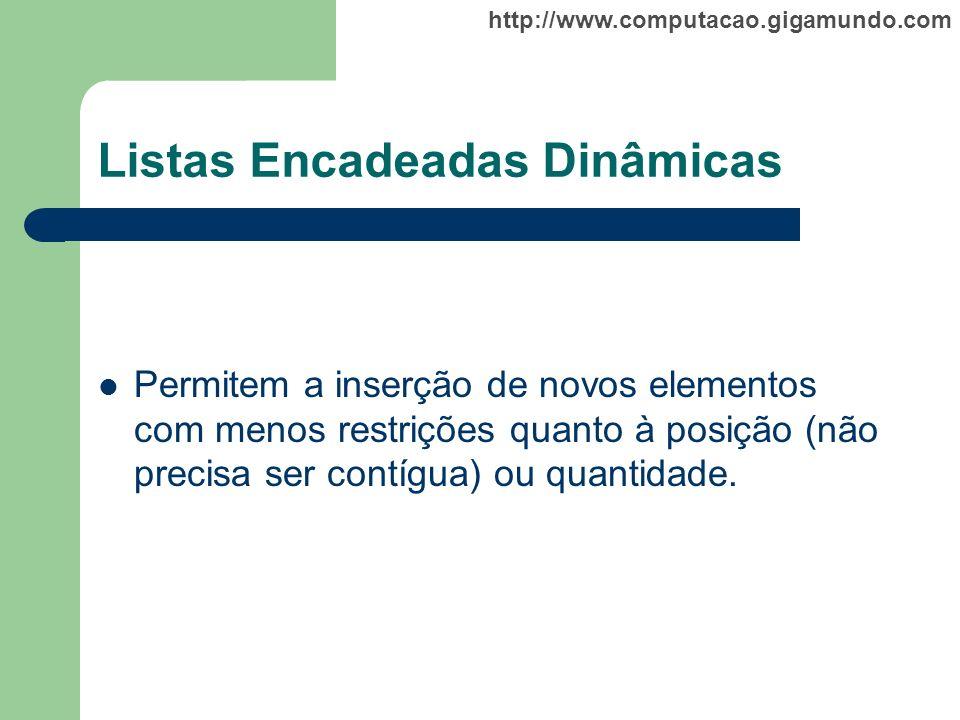 http://www.computacao.gigamundo.com Listas Encadeadas Dinâmicas Permitem a inserção de novos elementos com menos restrições quanto à posição (não prec