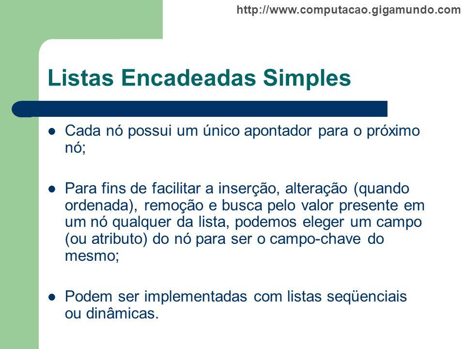 http://www.computacao.gigamundo.com Listas Encadeadas Simples Cada nó possui um único apontador para o próximo nó; Para fins de facilitar a inserção,