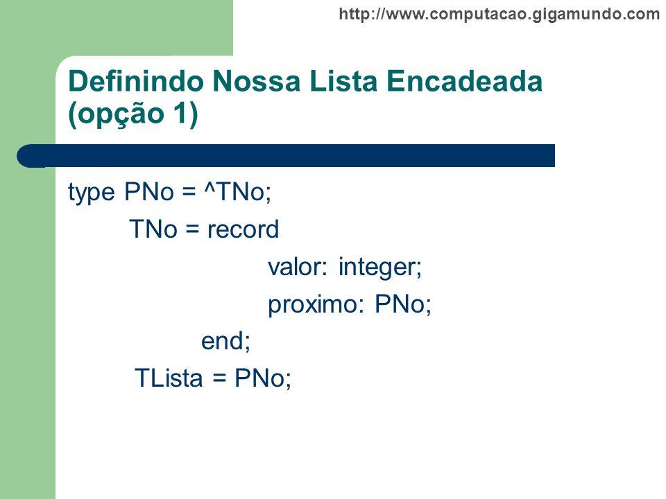http://www.computacao.gigamundo.com Definindo Nossa Lista Encadeada (opção 1) type PNo = ^TNo; TNo = record valor: integer; proximo: PNo; end; TLista