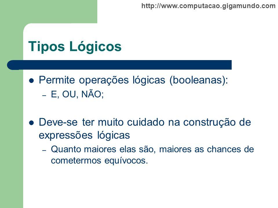http://www.computacao.gigamundo.com Tipos Lógicos Permite operações lógicas (booleanas): – E, OU, NÃO; Deve-se ter muito cuidado na construção de expr